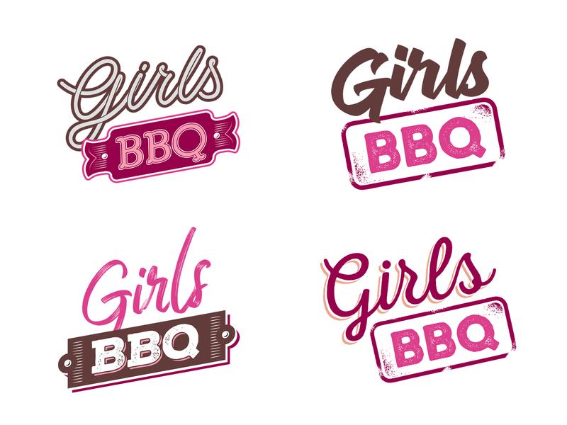 Girls BBQ Logo Variatons pink bbq girls brand identity typography hand lettering branding design logo