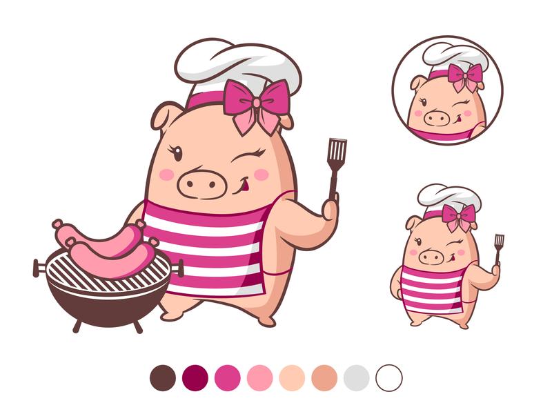 Girls BBQ Character Mascot pink bbq pig icon vector illustration character mascot branding design logo