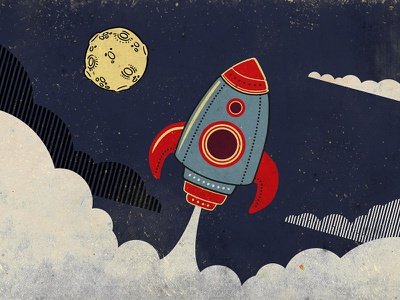 AIGA So...Ready to launch? event rocket illustration time space moon reflection aiga centennial mari mihai clouds dream launch