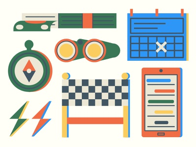 Email Illustrations branding binoculars compass calendar phone finishline cash money icons ui illustration design illustrator vector