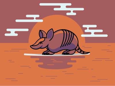 Surf N Armadilla illustrator vector ocean armadillo surf
