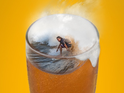 NLand Brewing Co. wave thirsty stoked pint photoshop surf beer