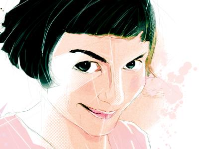 Amelie Poulain movie sketch black white pink texture photoshop