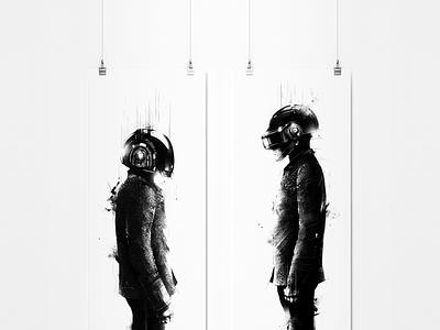Daft Punk Tribute daft punk music dj electro black print screenprint illustration artwork