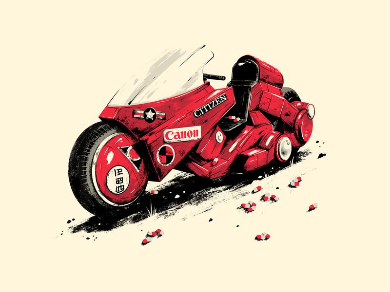 Kenada's Bike digital photoshop illustration japenese movie print poster illsutration motorcycle bike kenada akira