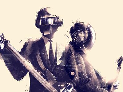 Daft Punk 2 x Gauntlet Gallery daft punk portrait full body music electronic illustration artwork fan art