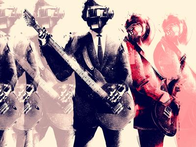 Daft Punk 6 daft punk portrait full body music electronic illustration artwork fan art