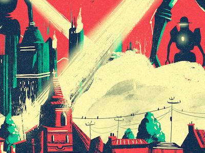 The Emergency Broadcast destruction broadcast emergency armageddon robot invasion illustration art music score cover album