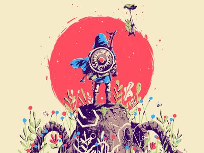 Breath of the Wild x Screenprint video game art fan poster print nintendo guardian link wild breath zelda