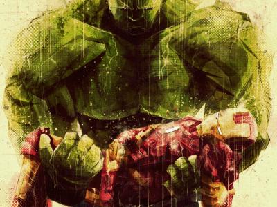 Brothers in Arms avengers iron man hulk movie comic art digital photoshop sketchy rain death