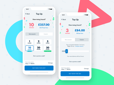 Top Up concept startup iphone pricing plans pricing slider mobile topup ios app