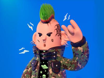 Pepe punk c4d art colors charachter design creación de personaje illustration ilustración arte 3d diseño characterdesign 3d