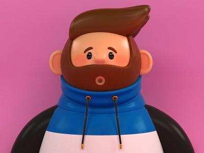 Joven con Sudadera illustration charachter design color diseño creación de personaje arte 3d 3d