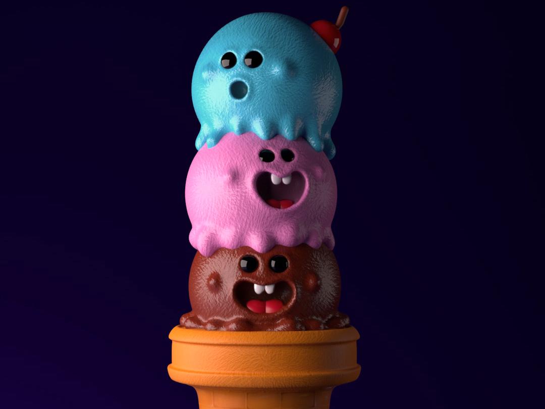 Helado de emociones ilustración creación de personaje art colors animation kawaii color arte 3d illustration design diseño 3d charachter design c4d render cinema 4d