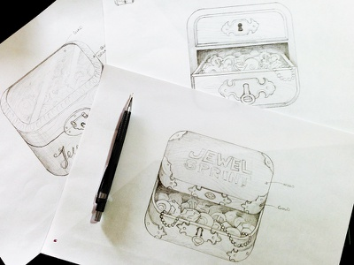 icon Sketches jewelbox icon icons iphone apple app ios ui jewel box wood gold ornaments diamond sketch sketches draw paper