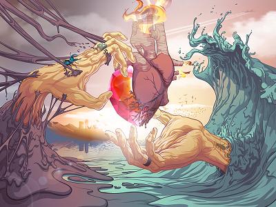 Unfinished Sympathy wave illustrator sosoa gang vectoriel hand illustration heart dune vector cœur sky