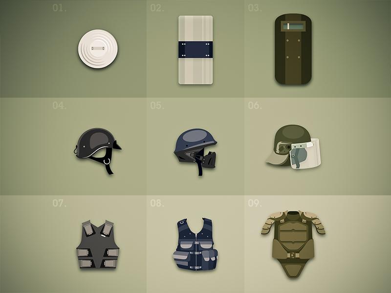 Defense item guns game defense shield helmet bulletproof illustrator flat