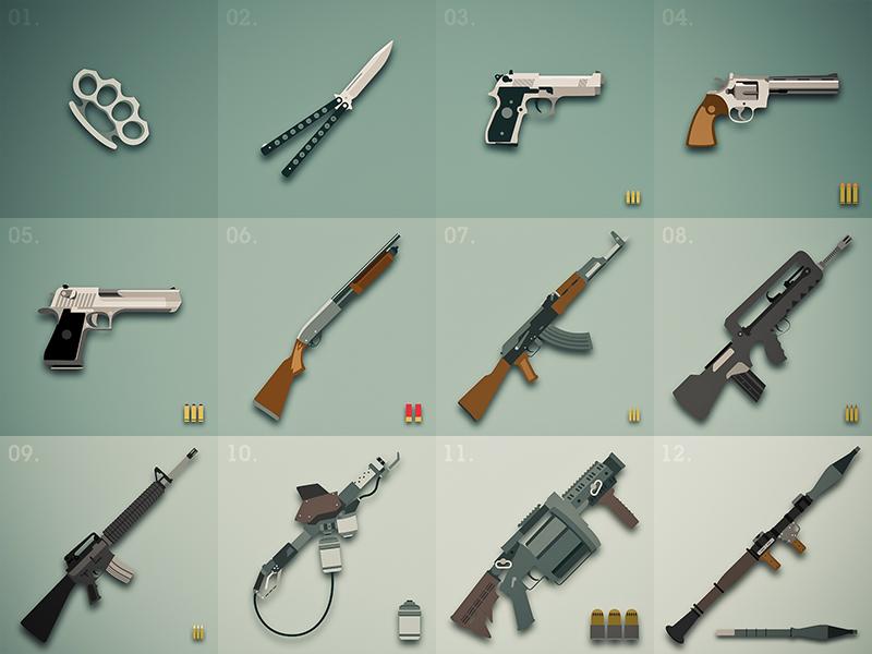 Weapons item guns game defense illustrator flat magnum a k47 knife