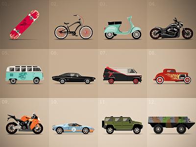 Vehicles item guns game vehicles hummer skate bike moto ford vespa flat illustrator