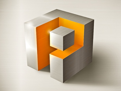 Logo PI logo logotype p i metal orange grey inox stainless steel