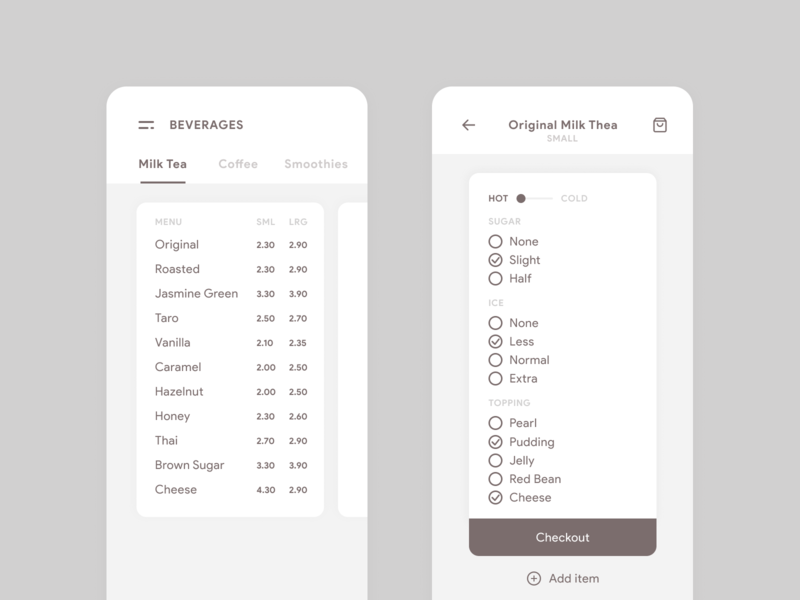 Minimal Beverages Menu UI application design minimalist design minimalist minimalism ui ux minimal design dailyui