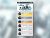 Warframe ESO Leaderboard mobile design 019 adobe xd iphone x dailyui