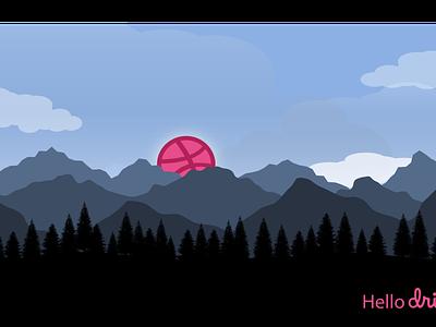 Hello Dribbble illustration landscape adobe illustrator hello dribbble