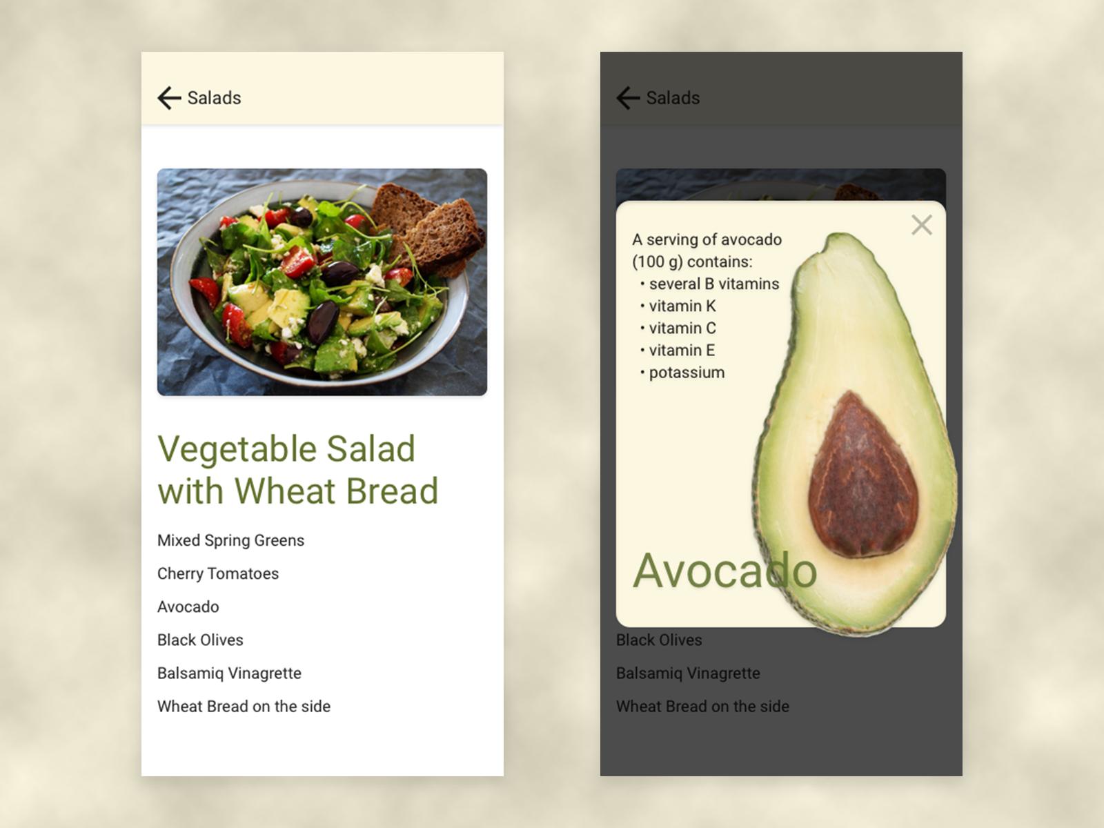 DailyUI Day 016 - Overlay for recipe app