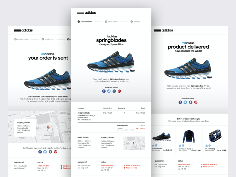 adidas CRM payment receipt email receipt crm email design email cart