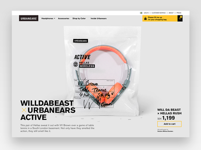 Urbanears Active Product Page ux product sweat headphones minimalistic urbanears campaign website ui design