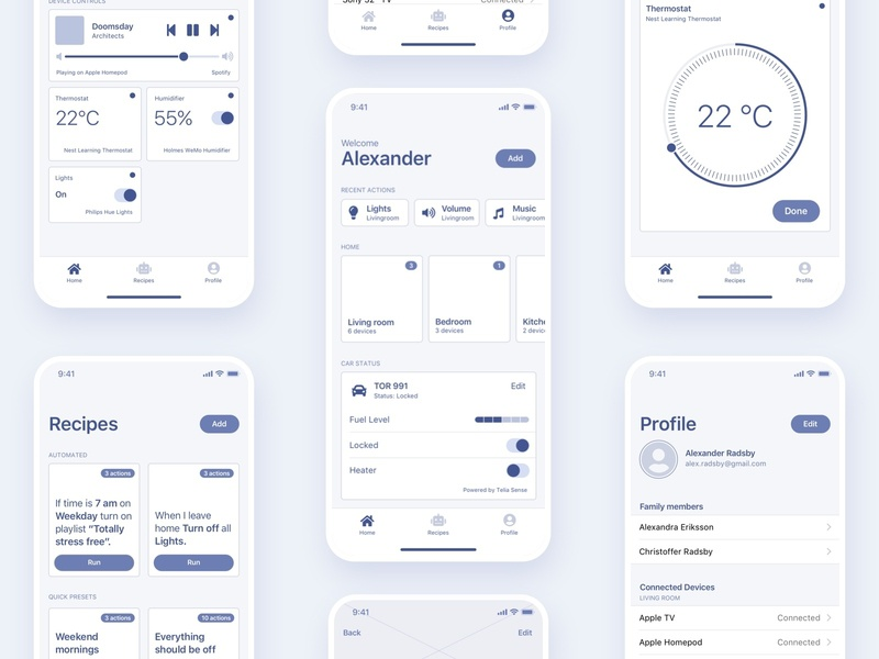 Smart Home App Concept Wireframes internet of things iot profile recipes ifttt ifthisthenthat user experience mobile ios wireframes remote controller smart smart home icon app design ui vector ux