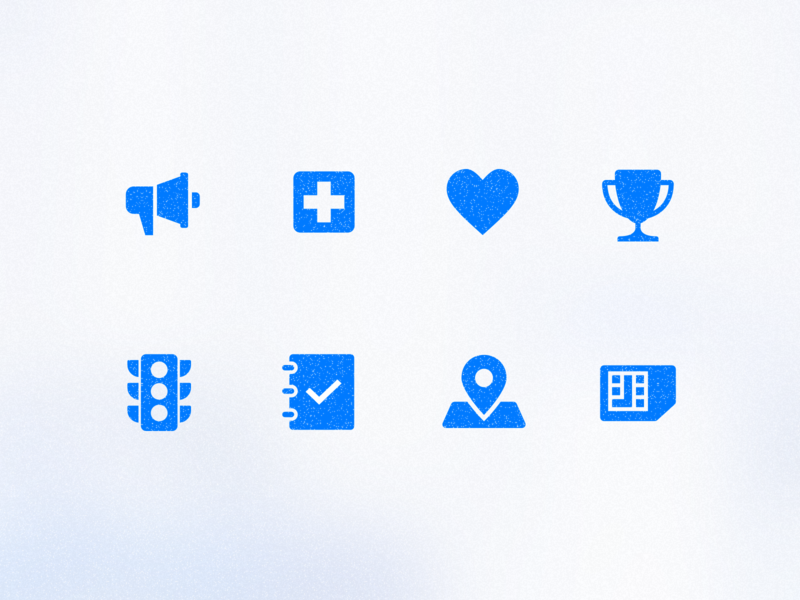 Spark Icons icons sim sim card pin map status log traffic light traffic achievements heart love health emergency notification app vector illustrator ui design icon