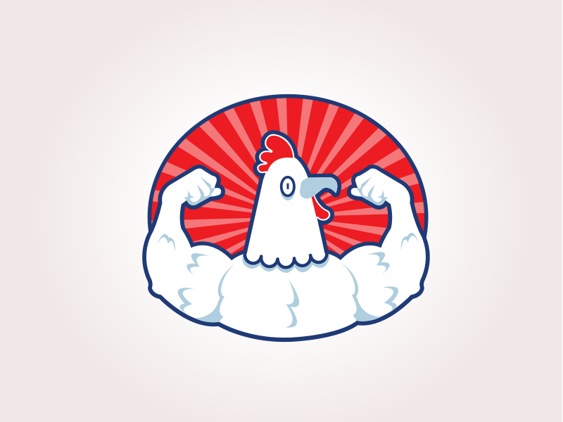 Power Chicken chicken power muscle cluck logo roundel flex arms hen rooster