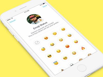 Emoji Status - Emoji Picker 😄 profile status set status kik messenger ui mobile kik emoji picker emoji status ios
