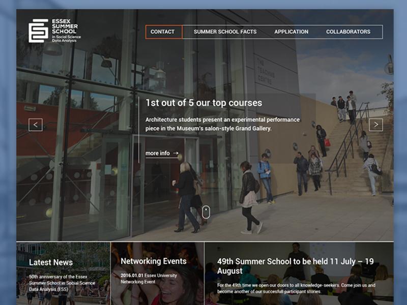 University of Essex School in Social Science Data Analysis london university website omdesign university of essex website design