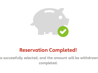 Reservation screen payment reservation check pig money credit card sucessful done
