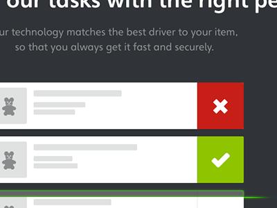 Task matching match tasks list gray white check delete scan scanning laser x-ray