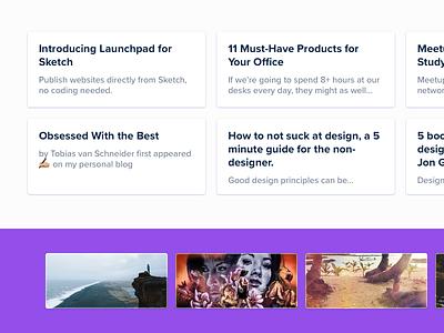 iotaCSS — Medium.com visuals 1/3 blog articles purple minimal clean grid landing page website