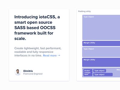 iotaCSS — Medium.com visuals 2/3 post blog post article website landing page grid clean minimal purple articles blog