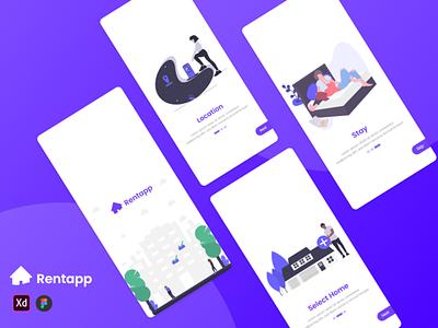 Rent App logo illustration design app ux ui adobe xd
