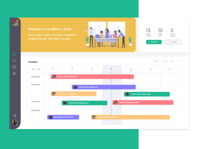 Time Management Dashboard web ux ui adobe xd