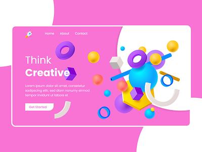 3d Web UI branding design web ux ui adobe xd