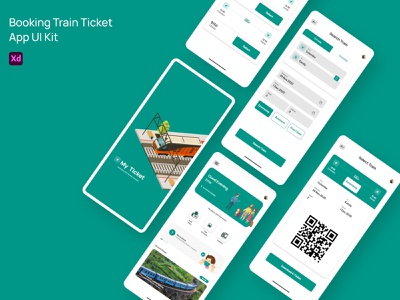 Booking Train Ticket design app ux ui adobe xd