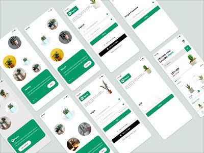 Plants Mobile UI branding design app ux ui adobe xd