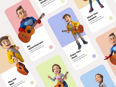 Music E-Learning App Onboarding app design ux ui adobe xd