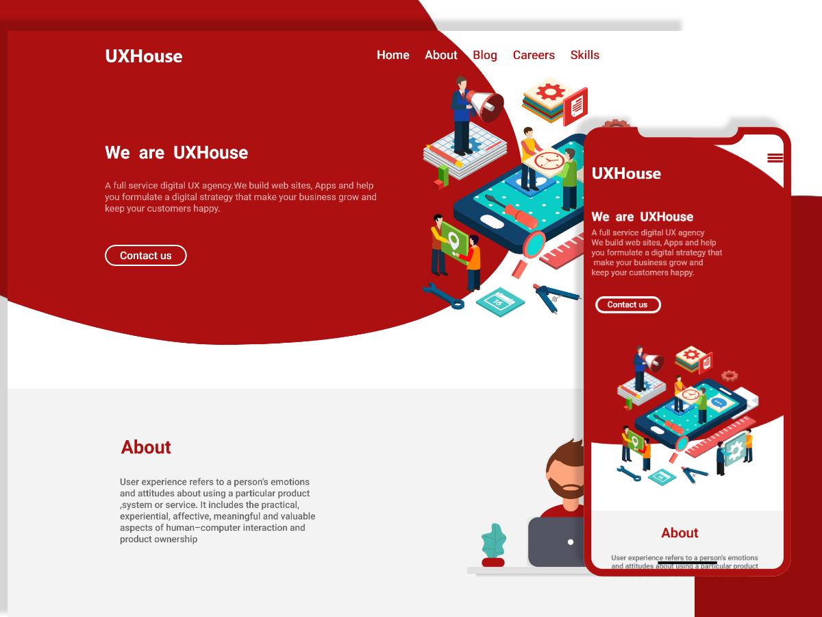 UXHouse-web-landing-page web ux ui adobe xd