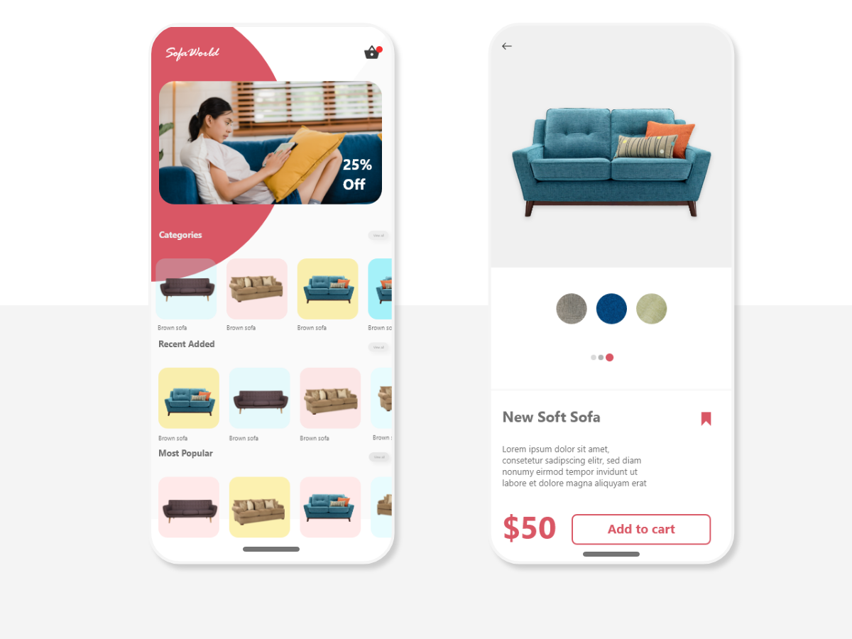 E commerce Mobile UI vector icon app ui ux adobe xd