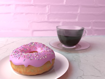 Donut and coffee 3d artist 3d art blendercycles blender3dart blender3d render design illustration 3d