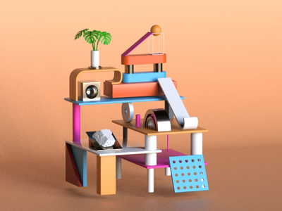 Plastic Playground kids playground redshift rendsfit materials plastic toy abstract design illustration design cinema4d aftereffects 3d