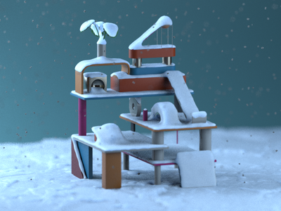 Winter Playgound plastic snow redshift3d render xmas christmas colorful design abstract design illustration design cinema4d aftereffects 3d